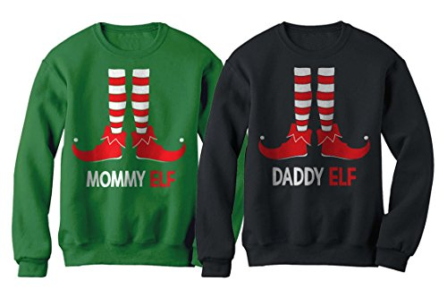Mommy & Daddy Elf Suit Matching Set Santa's Helpers Funny Christmas