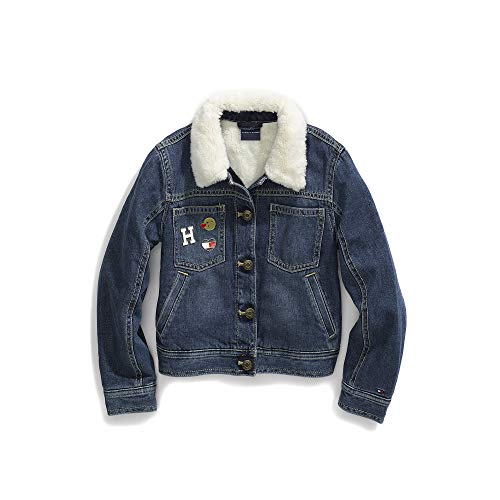 Tommy Hilfiger Girls' Adaptive Jean Jacket with Adjustable Closure and Fleece Collar