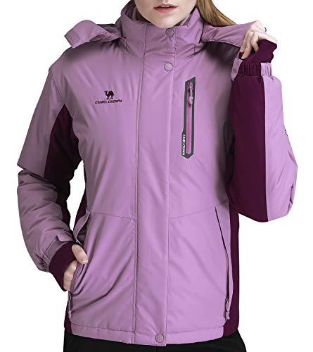 CAMEL CROWN Women's Mountain Snow Waterproof Ski Jacket Detachable Hood Windproof Fleece Parka Rain Jackt Winter Coat Purple XXXL