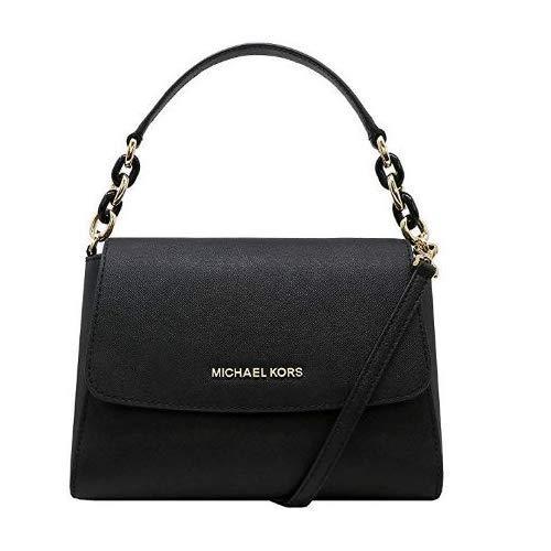 Michael Kors Sofia Small EW Saffiano Leather Satchel Crossbody (Black/Black)