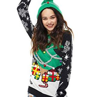 Unisex Women's Ugly Christmas Sweater Hoodie Funny Knitted Xmas