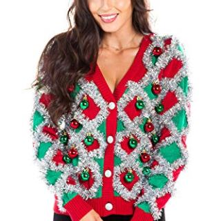 Women's Garland Christmas Sweater - Green and Red Tinsel Ornament