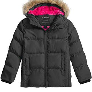 Wantdo Girl's Heavy Winter Parka Coat Thickened Puffer Jacket Black
