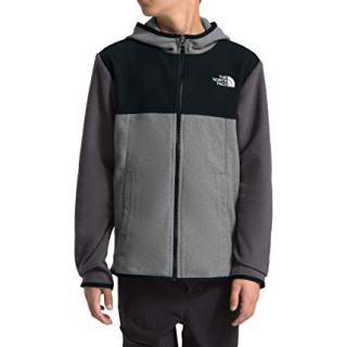 The North Face Boys' Glacier Full Zip Jacket, TNF Medium Grey Heather/TNF Black