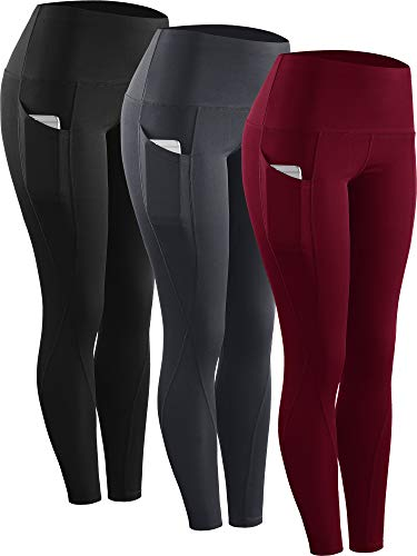 Neleus 3 Pack Tummy Control High Waist Running Workout Leggings