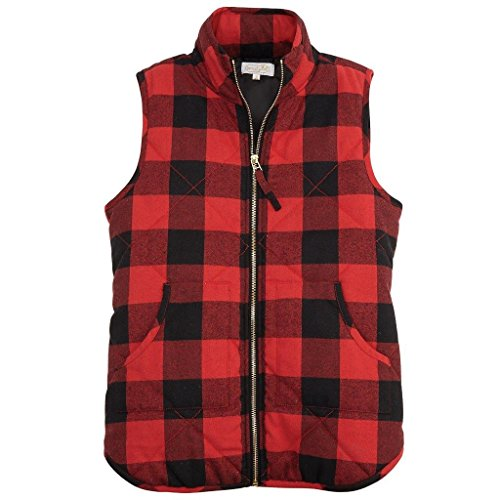 Mud Pie Red Buffalo Check Brodie Vest,Red