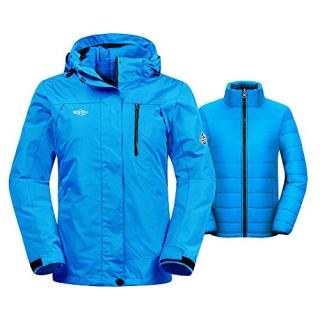 Wantdo Women's Thick 3-in-1 Ski Jacket Interchange Raincoat Hooded Mountain Winter Parka with Detachable Puffer Liner Outwear(Blue, Medium)