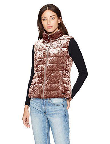 Calvin Klein Women's Crushed Velvet Mock Neck Down Vest