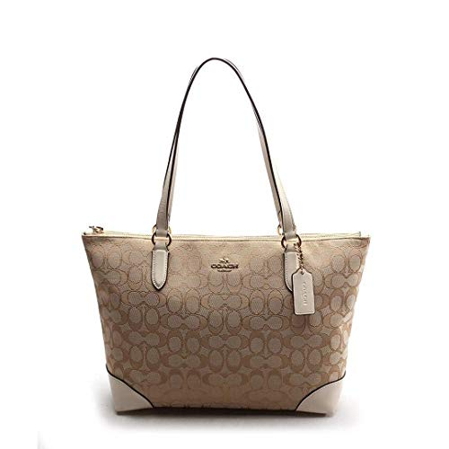 Coach Women's Outline Signature Zip Tote No Size (Im/Light Khaki/Chalk)