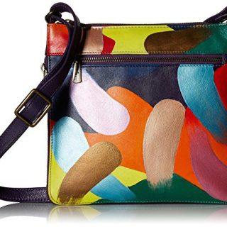 Anuschka Women's Genuine Leather Expandable Travel Crossbody - Hand Painted Original Artwork - Painterly Palette