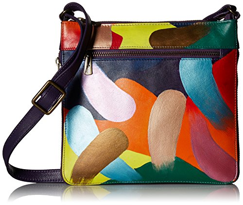 Anuschka Women's Genuine Leather Expandable Travel Crossbody - Hand Painted Original Artwork - Painterly Palette