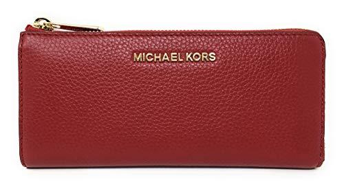 Michael Kors Jet Set Large Three Quarter Zip Around Pebbled Leather Wallet (Scarlet Red)