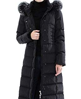 Obosoyo Women's Hooded Thickened Long Down Jacket Maxi