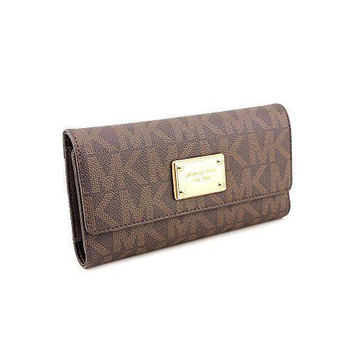Michael Kors Vanilla PVC Checkbook Wallet Brown