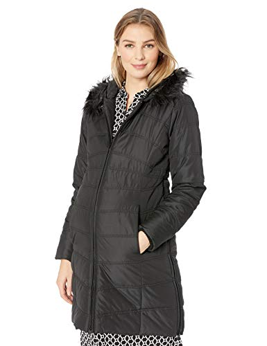 Motherhood Maternity Women's Maternity Quilted Puffer Coat with Attached Hood and Faux Fur Trim, Black, Extra Large