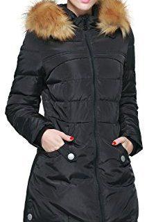 Orolay Women's Down Jacket with Faux Fur Trim Hood (2XL, Black)