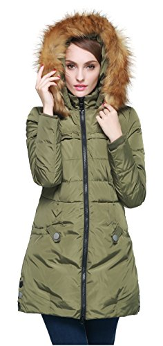 Orolay Women's Down Jacket with Faux Fur Trim Hood Green L