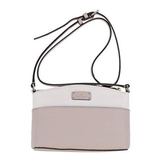 Kate Spade New York Millie Grove Street Leather Crossbody Shoulder Bag (Warm Beige/Cement)