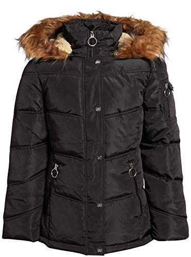 Steve Madden Girls' Hooded Puffer Bubble Jacket with Faux Fur Trimmed Hood