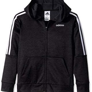adidas Boys' Big Zip Front Hooded Jacket