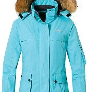 Wantdo Women's Ski Jacket Insulated Windproof Coat Detachable Hood Light Blue S