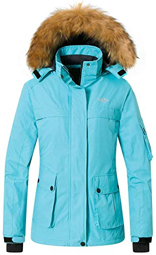 Wantdo Women's Ski Jacket Insulated Windproof Coat Detachable Hood Light Blue S