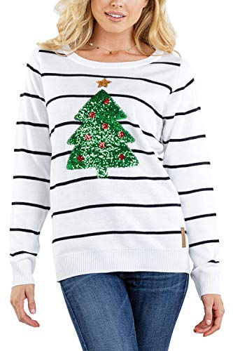 Tipsy Elves Women's Sequin Christmas Tree Sweater