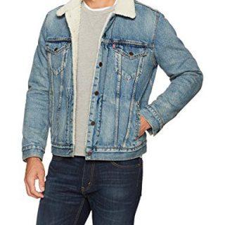 Levi's Men's Type III Sherpa Jacket, Mustard Blue Denim