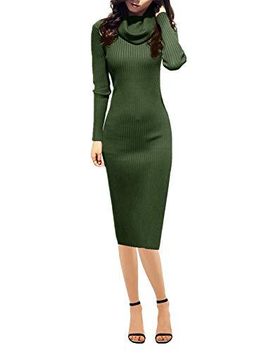 Women Knit Cowl Neck Elastic Long Sleeve Stretchable Slim Knee Sweater Dress