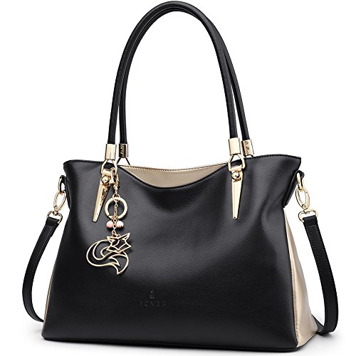 FOXER Women Handbag Leather Purse Lady Tote Shoulder Bag Top Handle Bag Valentine's Day Gifts