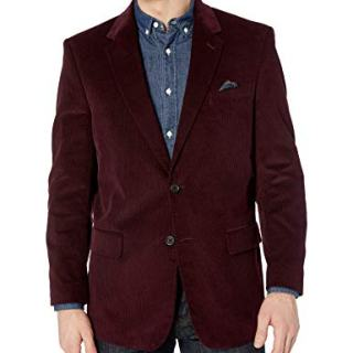 U.S. Polo Assn. Men's Portly Corduroy Sport Coat, Bordeaux