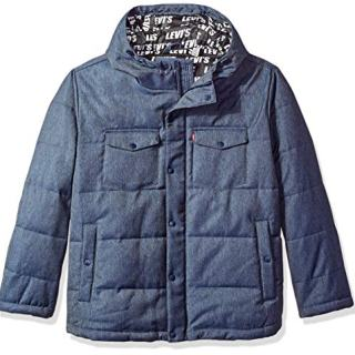 Levi's Men's Big and Tall Quilted Hoody Puffer Jacket Repeat Logo Lining