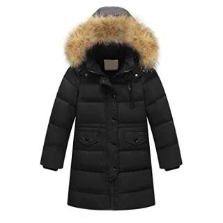 Lavany Little Boys Girls Down Coats Faux Fur Hooded Padded Long Parka Coat