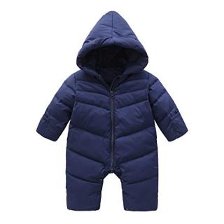 Cnajii Cute Baby Boy Girl Down Hooded Snowsuit Winter Warm Soft Romper