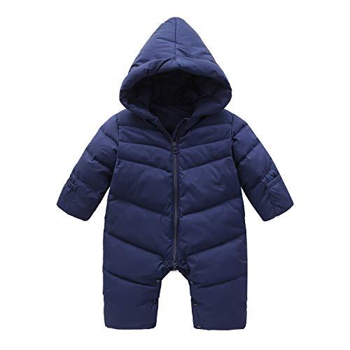 Cnajii Cute Baby Boy Girl Down Hooded Snowsuit Winter Warm Soft Romper