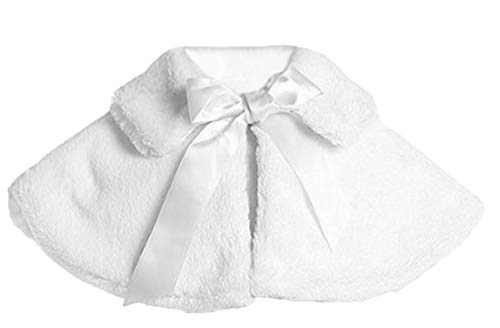 White Girl's Soft Faux Fur Cape with Satin Tie