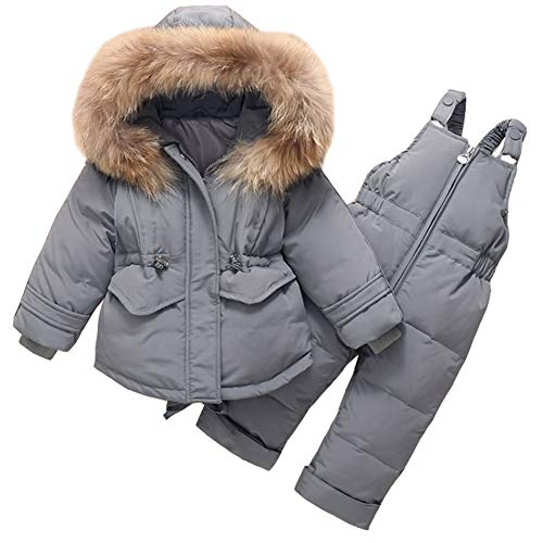 Aablexema Toddler Two Piece Winter Snowsuit - Kids Winter Warm Hooded