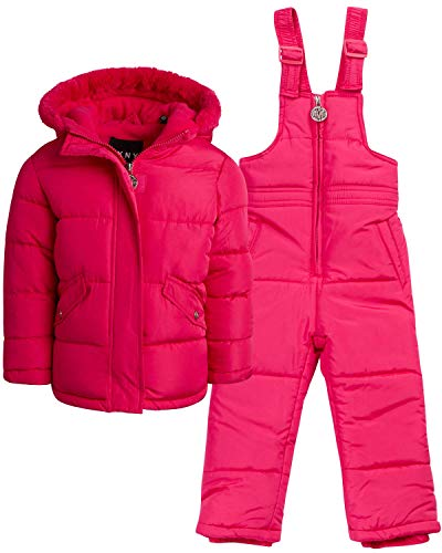 DKNY Baby Girls' 2-Piece Snowsuit with Heavy Puffer Jacket and Snow Bib Pants