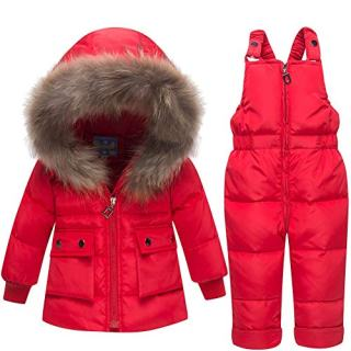 Baby Boys Girls 2PCS Thicken Down Snowsuits Warm Hooded Faux Fur Jacket