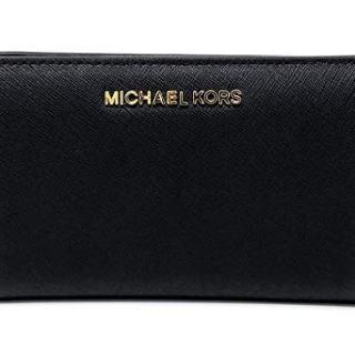 Michael Kors Jet Set Travel Slim Bifold Saffinao Leather Wallet (Black)