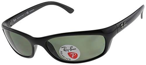 Ray-Ban Rectangular Sunglasses, Black/Polarized Green