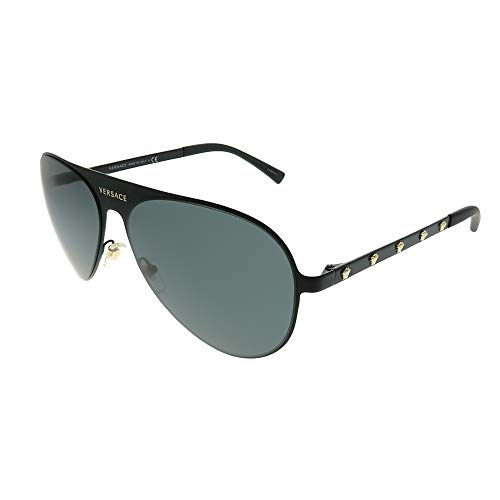 Versace Women's Aviator Sunglasses, Matte Black/Grey