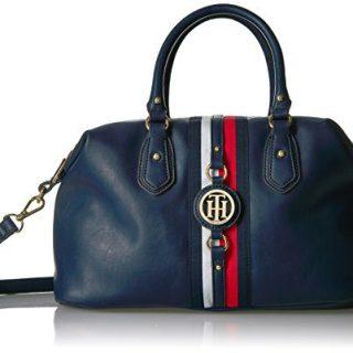 Tommy Hilfiger Handbag Jaden Satchel, Navy Polyvinyl Chloride
