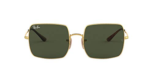 Ray-Ban Square Classic Metal Sunglasses, Gold/Green, 54 mm