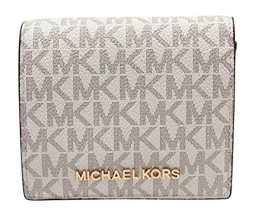 Michael Kors Jet Set Travel Vanilla Signature Card Case Carryall Medium Wallet