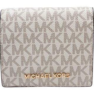 Michael Kors Jet Set Travel Vanilla Signature Card Case Carryall Medium Wallet