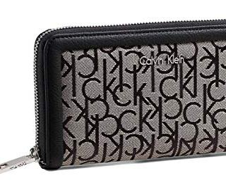 Calvin Klein Monogram Jacquard Zip Around Wallet Clutch Bag