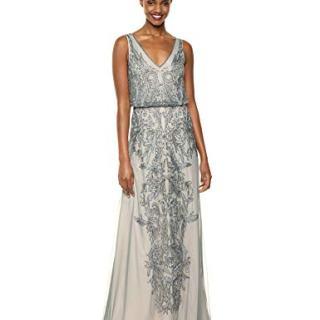 Adrianna Papell Women's Filigree Beaded Blouson Dress with V Neck