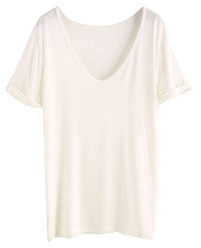 SheIn Women's Summer Short Sleeve Loose Casual Tee T-Shirt Off White/Cream