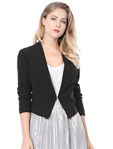 Allegra K Women's Collarless Work Office Business Casual Cropped Blazer